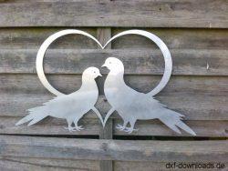 Herz mit 2 Tauben gross
