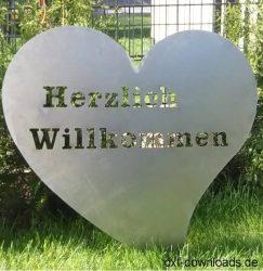 Herz mit Herzlich Willkommen