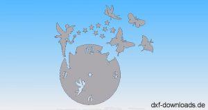 Uhr mit Schmetterling und Fee