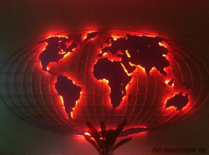Weltkarte mit Gitter Rot beleuchtet