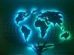 Weltkarte mit Gitter beleuchtet