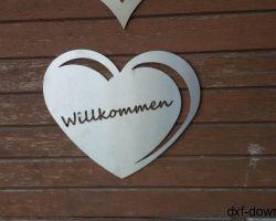 Herz mit Willkommen