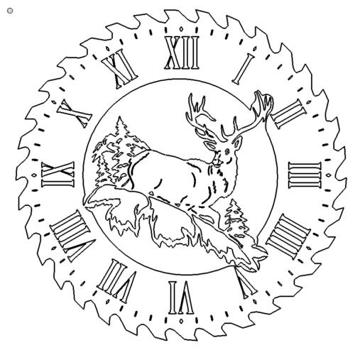 Uhr mit Hirsch - Sawblade Clock