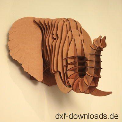 Elefanten Kopf 3D Modell - Elephant head 3D Model