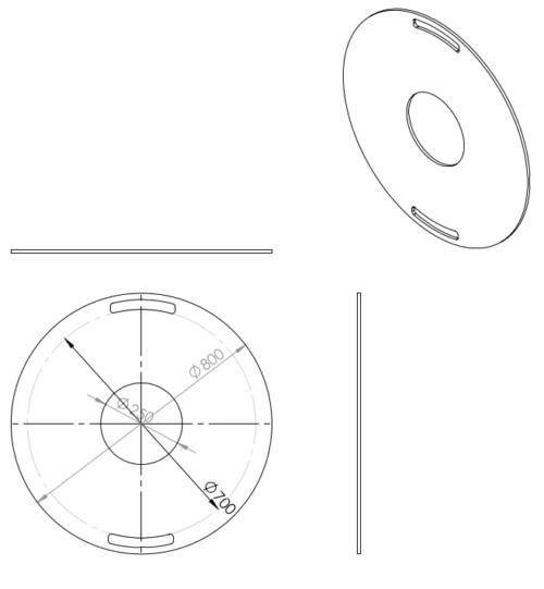 800mm Feuerplatte Grillring Grillplatte Plancha für Stahlfässer Öltonnen Stahltonnen oder große Kugelgrills