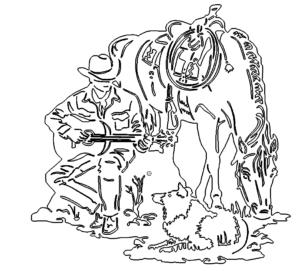 Cowboy mit Pferd und Hund im Wilden Westen