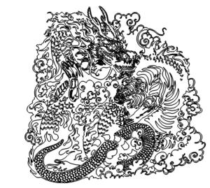 Drache und Tiger kämpfen - Dragon Tiger fighting