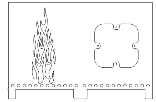 Feuerkorb mit Flammen und Löchern - Fire basket with flames and holes