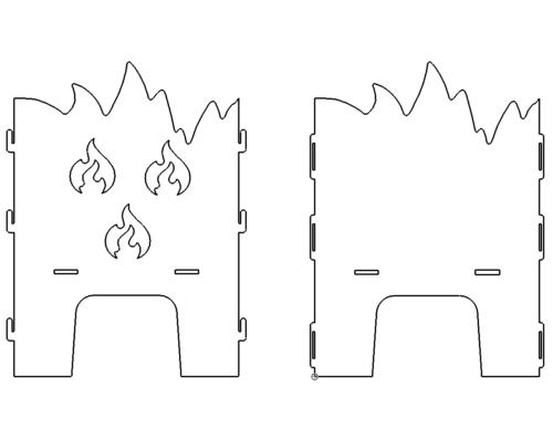 Feuerkorb mit Flammen zum Stecken