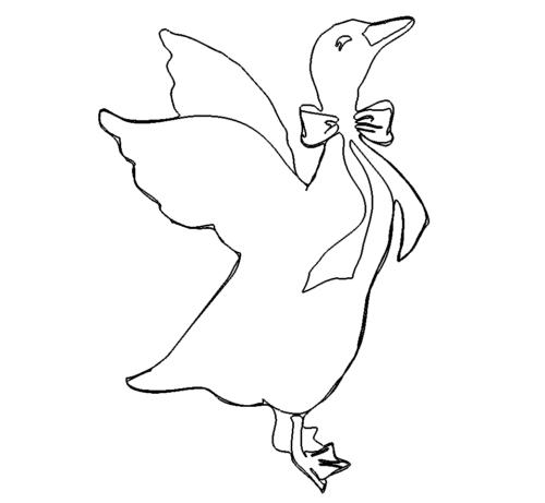 Gans fliegend mit Schleife - Goose flying with bow