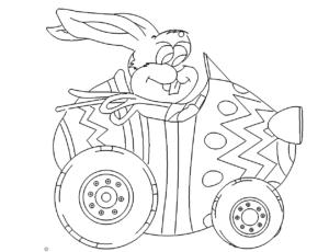 Osterhase im Auto