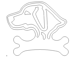 Hundkopf auf Knochen Schild - Dog head on Bone Shield