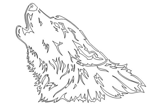 Heulender Wolfkopf - Howling Wolf head