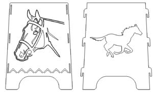 Feuerstelle Säule mit Pferden