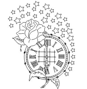 Uhr mit Rosen und Sternen