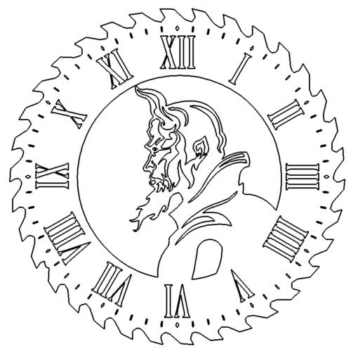 Uhr als Sägeblatt mit Teufel - Clock as saw blade with Devil