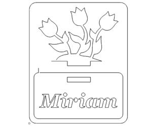 Namensschild mit Tulpen