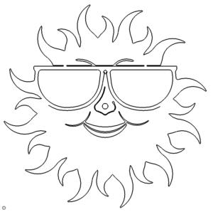 Uhr Sonne mit Brille - Clock sun with glasses