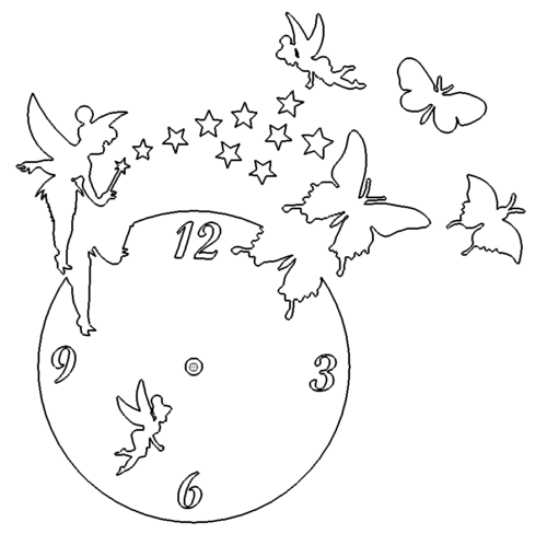 Uhr mit Schmetterling & Fee - Clock with butterfly and fairy
