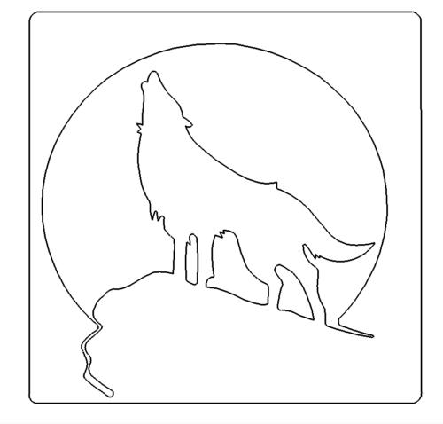 Wolf mit Mond im Hintergrund - Wolf with moon in the background