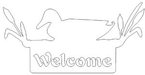 Welcome Willkommen Schild Ente