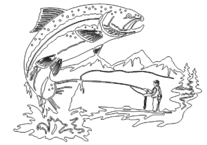Angler Bild mit großem Fisch - Fisherman image with a large fish