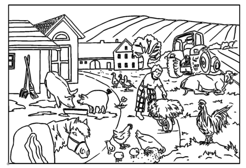 Bauernhof Bild mit Doppellinien - Farm image with double lines