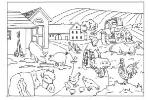 Bauernhof Bild mit Einzellinien - Farm image with single lines