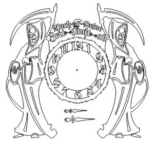 Uhr mit Sensenmann Tod - Clock with Grim Reaper Death