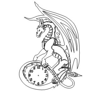 Drachen mit Uhr - Dragon with clock