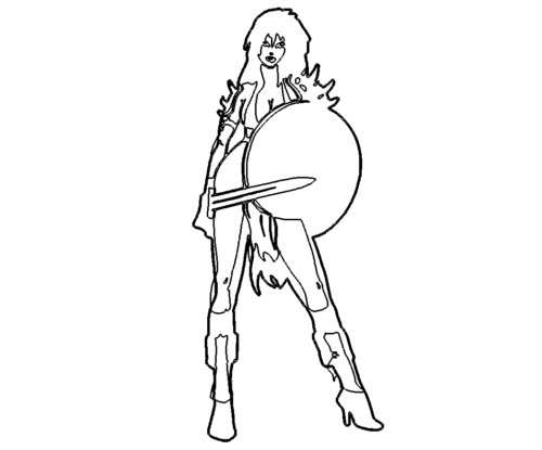 Frau mit Schwert - Woman with sword