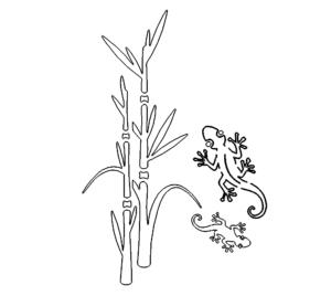 Geko und Bambus - Geko and bamboo
