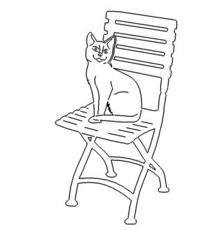 Katze sitzt auf Stuhl - Cat sitting on chair