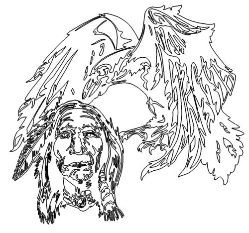 Indianer und Rabe