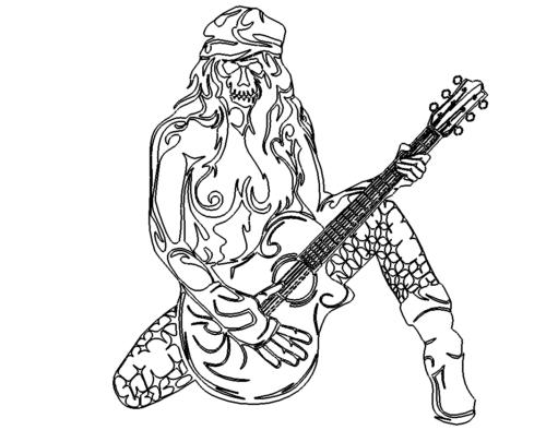 Totenkopf Frau Gitarre - Skull Girl