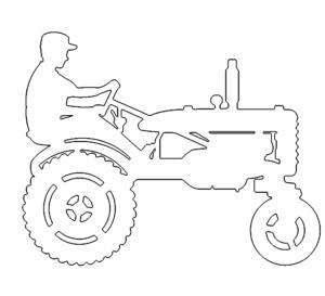 Mann auf Traktor