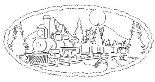Train In Mountain Dxf