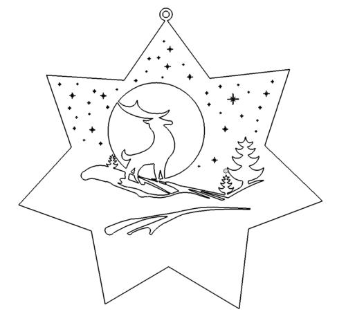 Weihnachts Winter Szene Hirsch